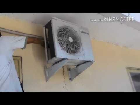 Washing cleaning outdoor split samsung R410a air conditioner || condenser coil clean