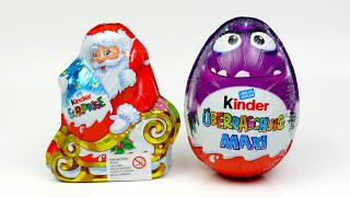 Maxi Kinder Surprise EGG unboxing and Santa Christmas with Surprise Toys