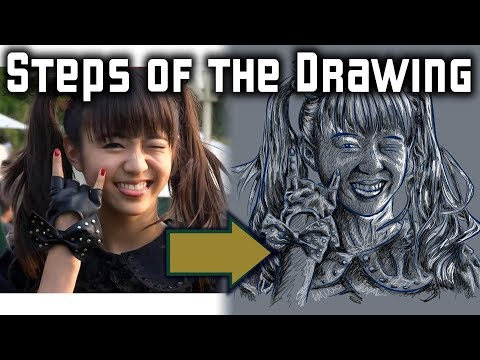 Steps of the Drawing Moa Metal from Babymetal
