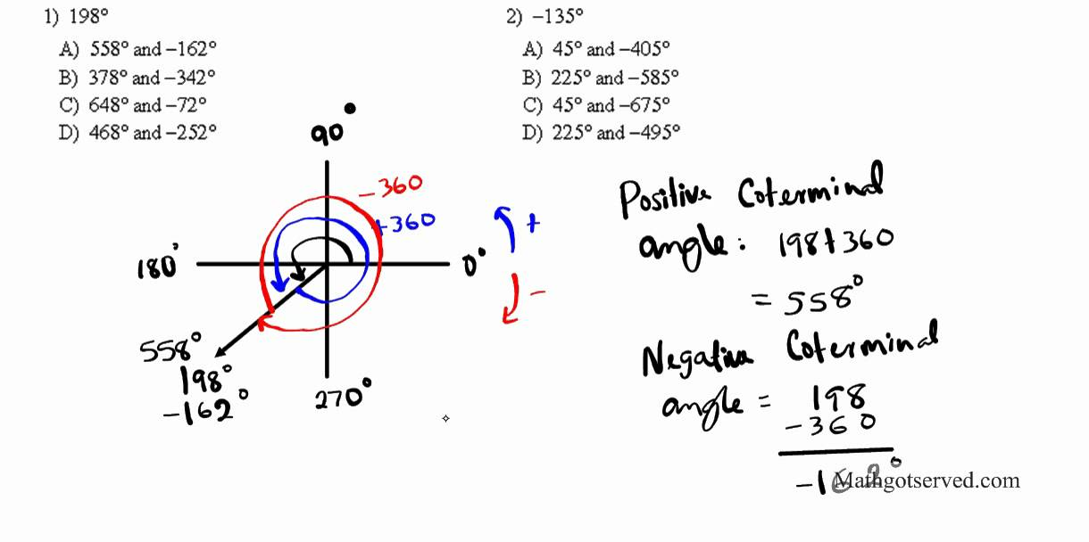 finding positive and negative coterminal angles