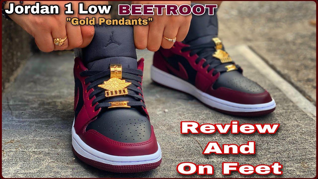 "EARLY REVIEW ‼️JORDAN 1 LOW ""SE"" Maroon ""BeetRoot"" Gold Pendants Fearless ???????????? ON FEET‼️????????"