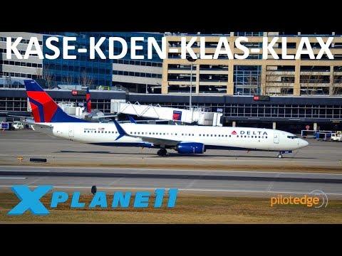 X-Plane 11   737 Ultimate!?!?   KASE-KDEN-KLAS-KLAX   A319 B739U   PilotEdge   Last day on PE!  