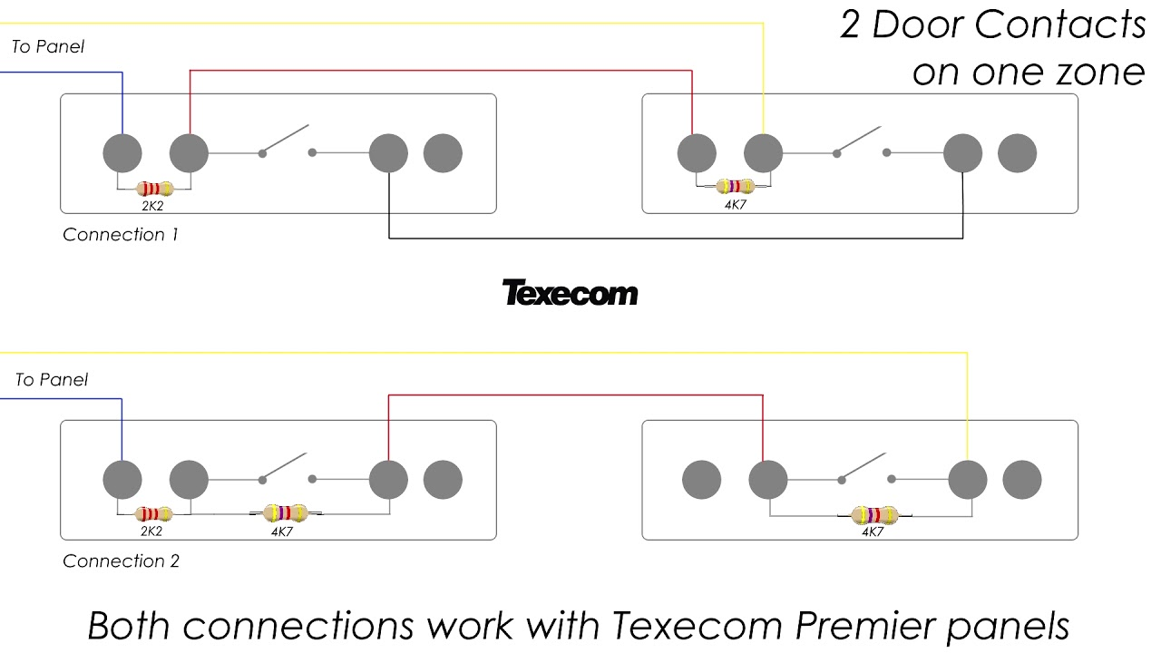 maxresdefault how to connect 2 door contacts on one eol zone texecom premier texecom door contact wiring diagram at panicattacktreatment.co