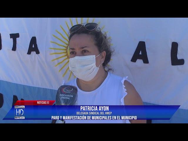 Patricia Ayón  Paro y manifestación de municipales en el municipio