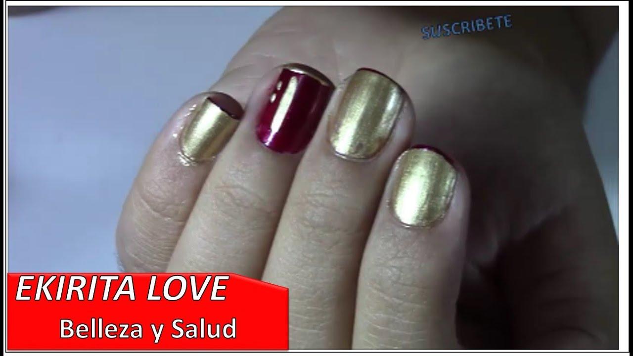 diseño de uñas con esmalte rojo y dorado, unique yambal, Ekirita ...