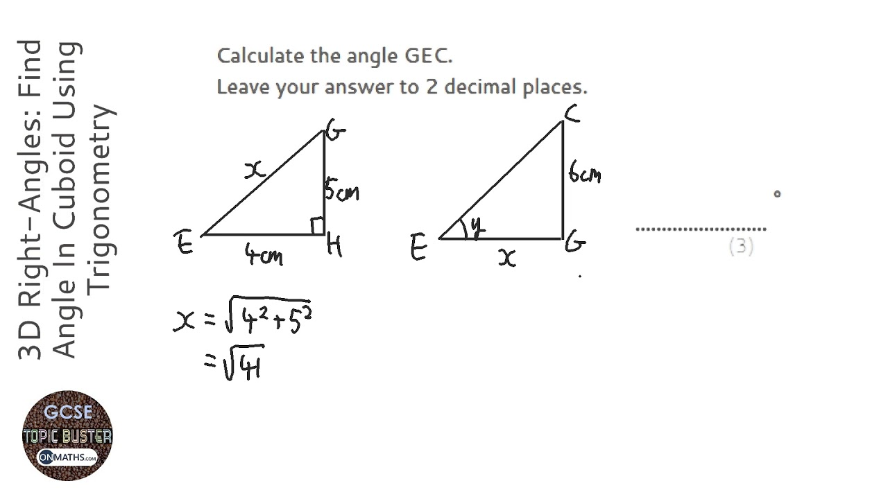 3D Right-Angles: Find Angle In Cuboid Using Trigonometry (Grade 9) - OnMaths GCSE Maths Revision