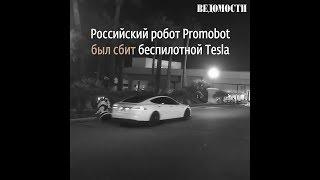 Война машин: беспилотная Tesla сбила робота из России в Лас-Вегасе