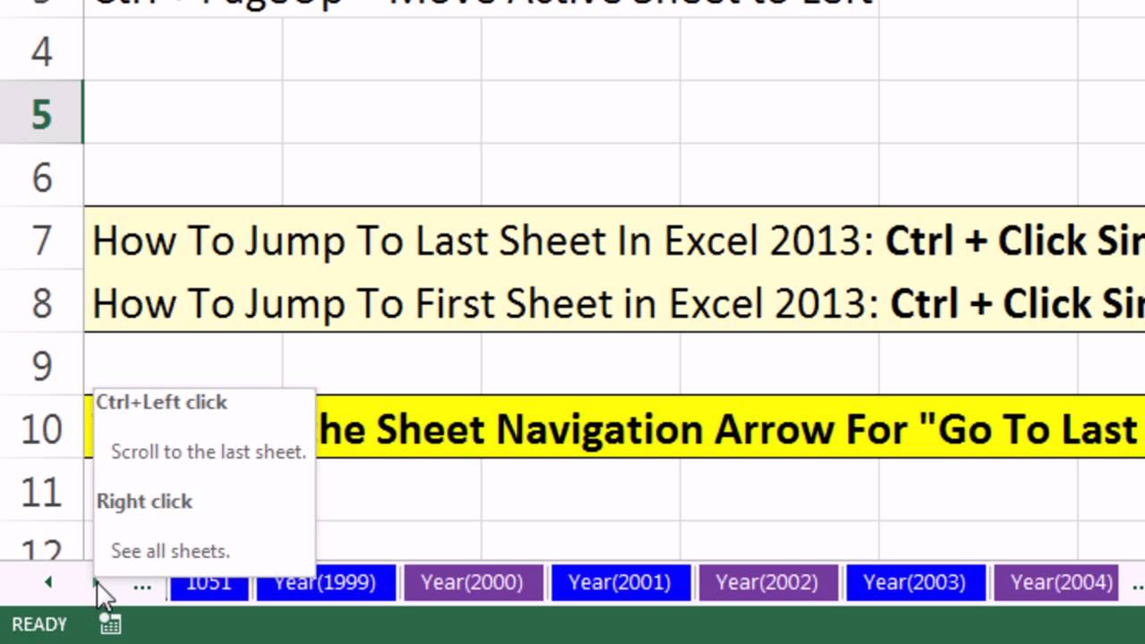 Excel magic trick 1050 excel 2013 sheet navigation arrows for go to last or first sheet where youtube