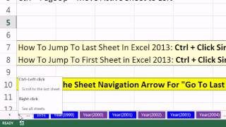 Excel Magic Trick 1050: Excel 2013 Sheet Navigation Arrows For Go To Last Or First  Sheet Where?