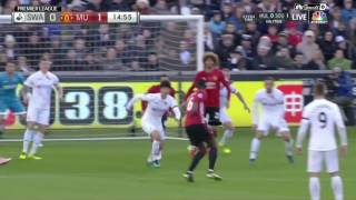CRAZY VOLLEYS I Man United's Paul Pogba and Leicester's Christian Fuchs