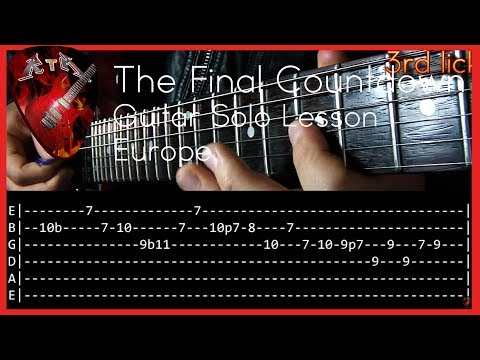 The Final Countdown Guitar Solo Lesson - Europe (with tabs)