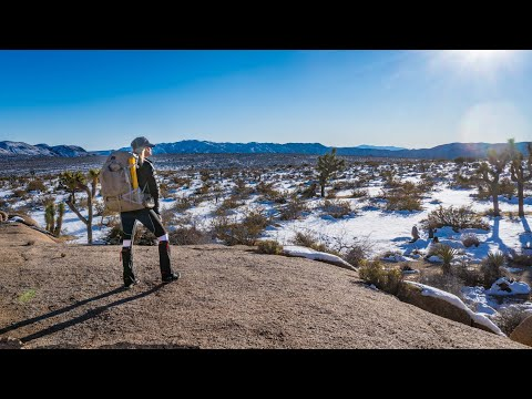 Winter Backpacking Joshua Tree Nat'l Park After Recent Snowfall   California Riding and Hiking Trail