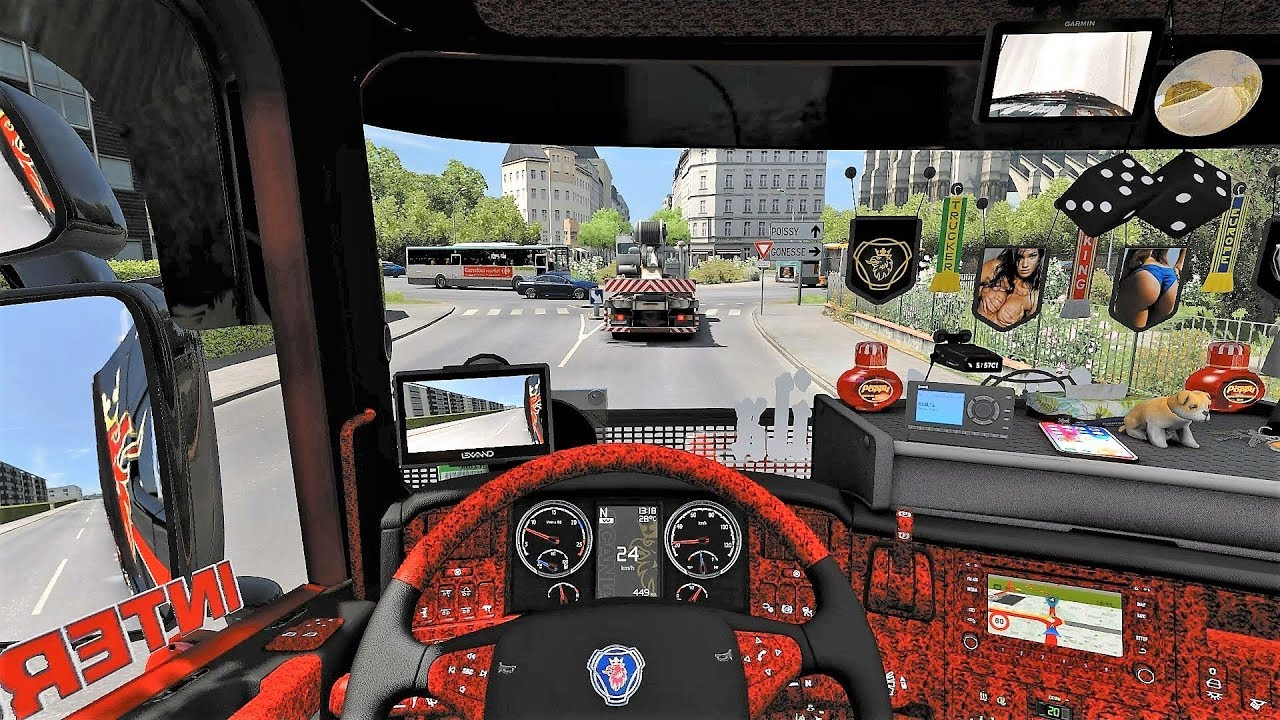 Ets2 v1 31 scania rjl tuning v8 sound skin interior paris rebuild