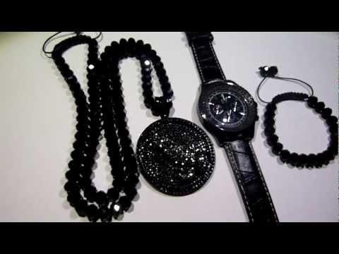 SOLDCOMBO 135 Adjustable Black Diamond Type Chain Bracelet Praying Hands Pendant Watch
