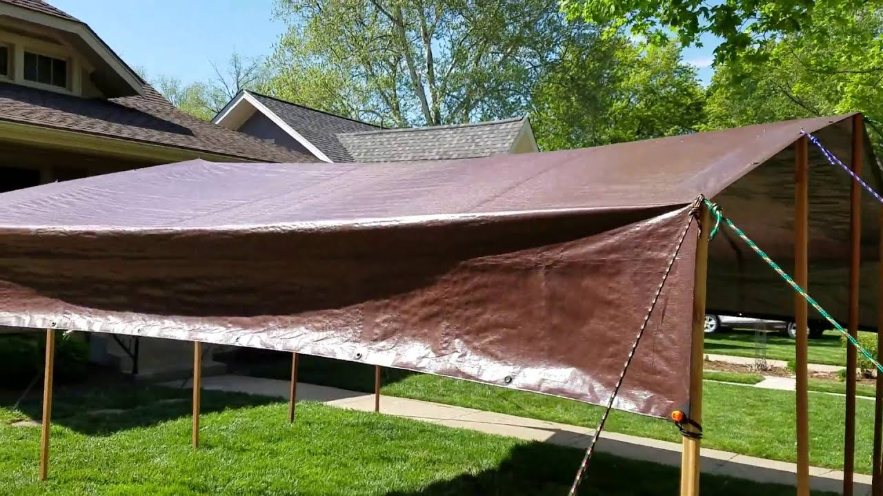Diy tarp camping canopy youtube for How to create a canopy
