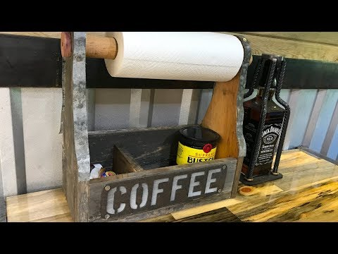 DIY Carpenter Toolbox Coffee Station - Barn-Scrap Wood + Barn Tin Paper Towel Holder