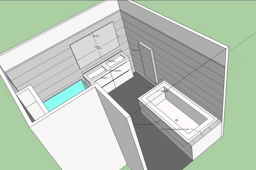 Badkamer sketchup heemrijk youtube for Tekening badkamer maken