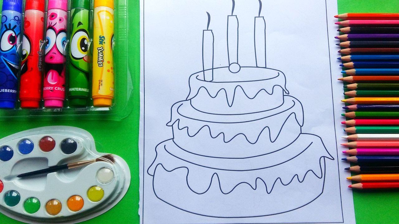 Coloring Page of Birthday Cake to Color with Watercolor Paint pens ...