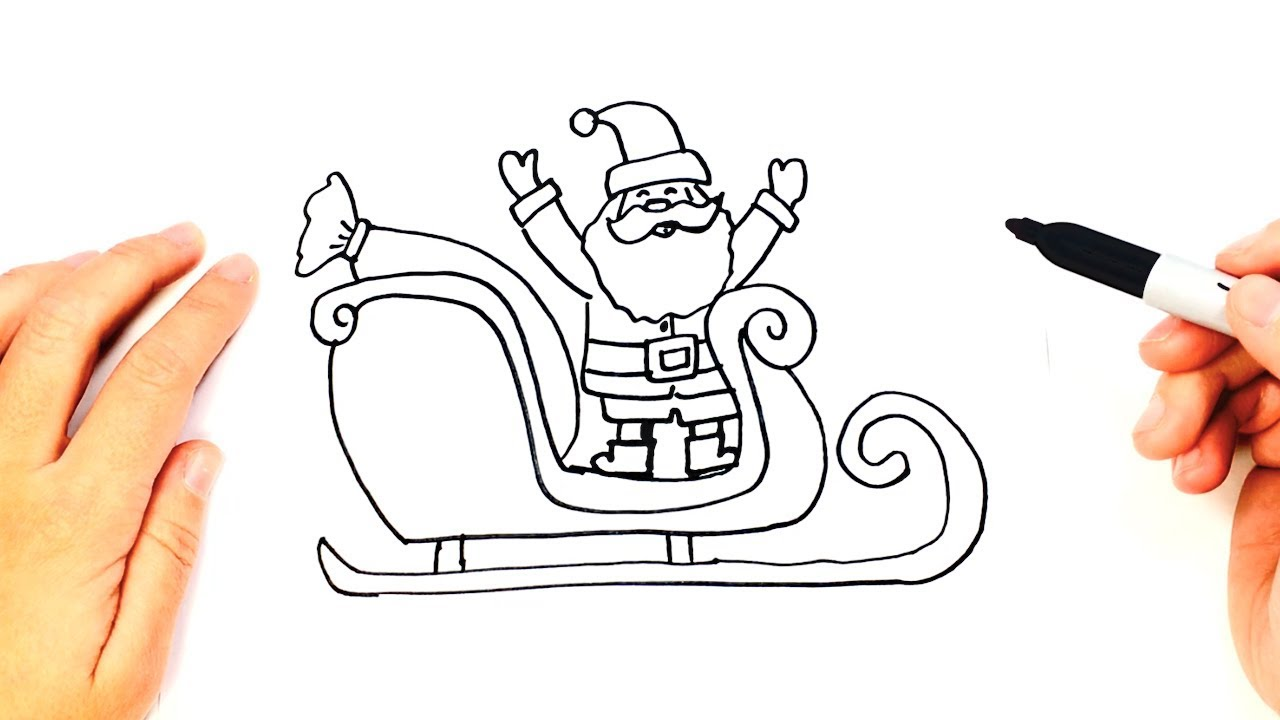 How to draw a Santa Claus Sleigh for Kids - YouTube