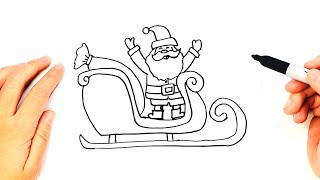 How to draw a Santa Claus Sleigh for Kids