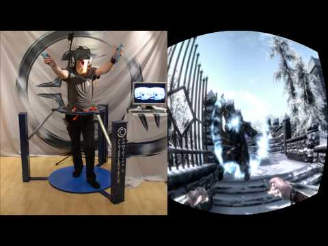 Skyrim in VR - Cyberith Virtualizer + Oculus Rift + Wii Mote = Full Immersion
