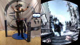 Skyrim in VR - Cyberith Virtualizer Oculus Rift Wii Mote Full Immersion