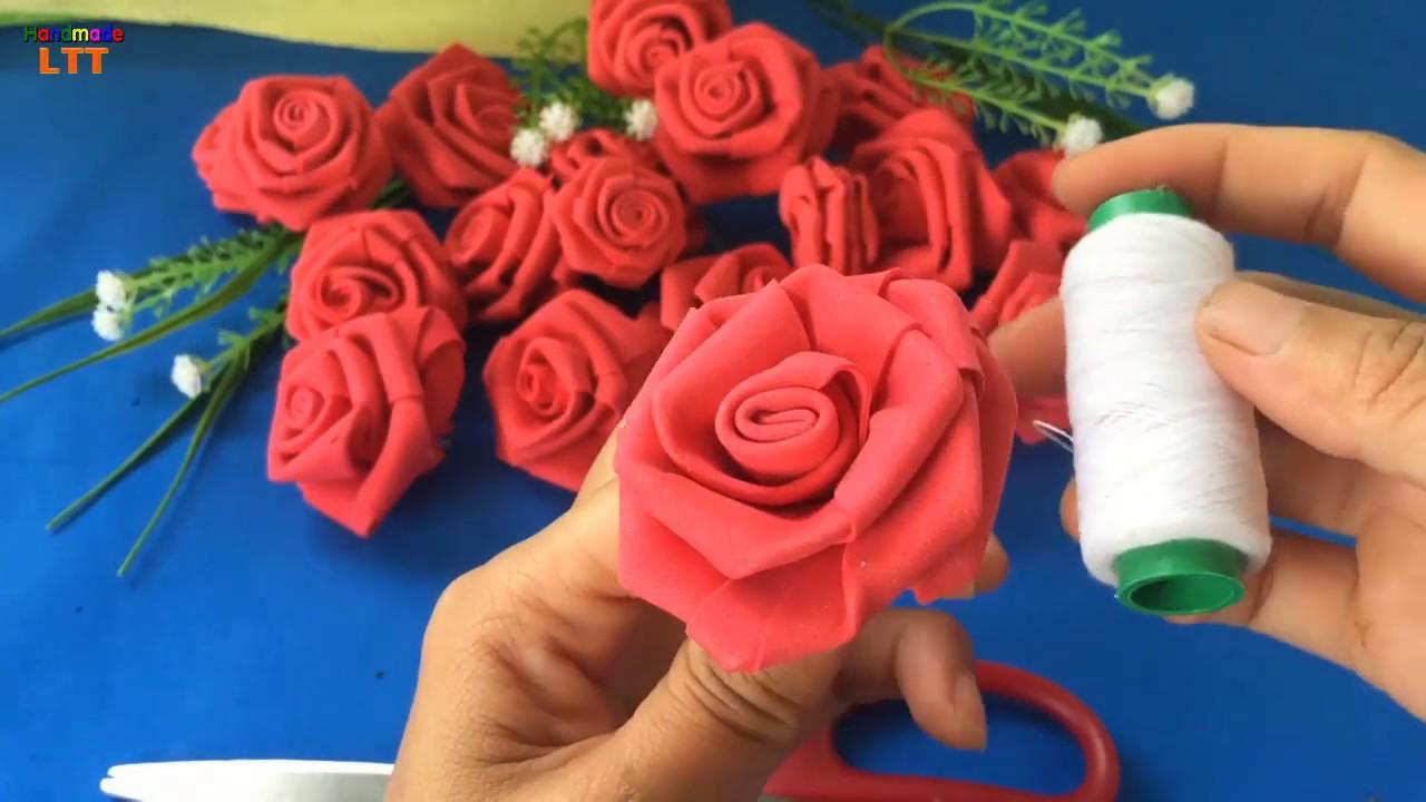 Hướng dẫn gấp hoa hồng  bằng giấy xốp | Gấp hoa hồng giấy xốp  ❀ Handmade LTT