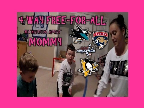 KNEE HOCKEY - 4 WAY FREE FOR ALL WITH MOMMY - PENGUINS / SHARKS / PANTHERS / CAPITALS