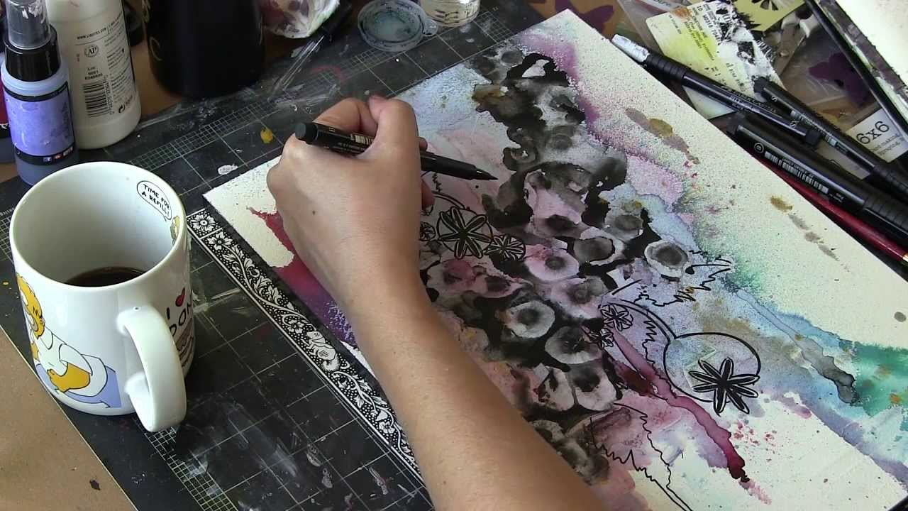Poppy seedheads abstract painting rubbing alcohol for How to use acrylic paints