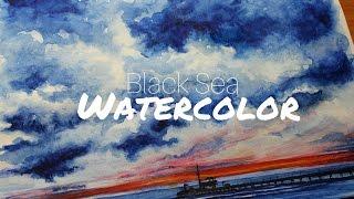 MY INSPIRING ATMOSPHERE. WATERCOLOR. BLACK SEA