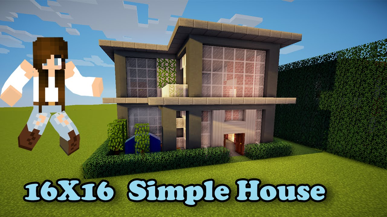 Minecraft simple house 16x16 how to build youtube for How to build a modern home