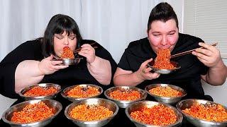 EXTREME FIRE NOODLE CHALLENGE WITH HUNGRY FAT CHICK  Mukbang &amp Recipe