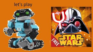 "Robey plays ""Angry birds star wars 2""."