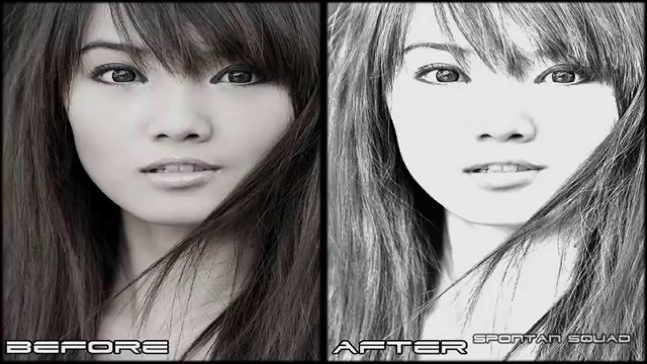 Photoshop Photo Line Art Effect : Adobe photoshop cs pencil sketch effect youtube