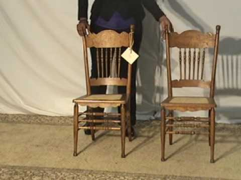 Pair Of Heywood Wakefield Oak Pressed Back, Spindle Back With Caned Seat