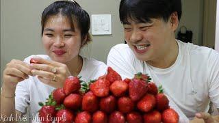 Ăn núi Dâu Tây Hàn Quốc-Lâu ngày gặp lại hai đứa vui cực kỳ