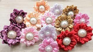 Цветы из атласных лент 2.5см/Ribbon Flowers/DIY