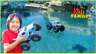 Monster Truck Car on Ice vs Water!!!