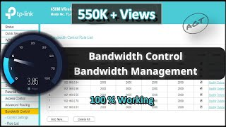 TP-Link Router Bandwidth Control / Bandwidth Management Settings (Set Speed Limit)