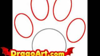 How to draw a paw print, step by step
