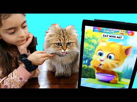 Emily and Funny Cat eats Breakfast and Plays
