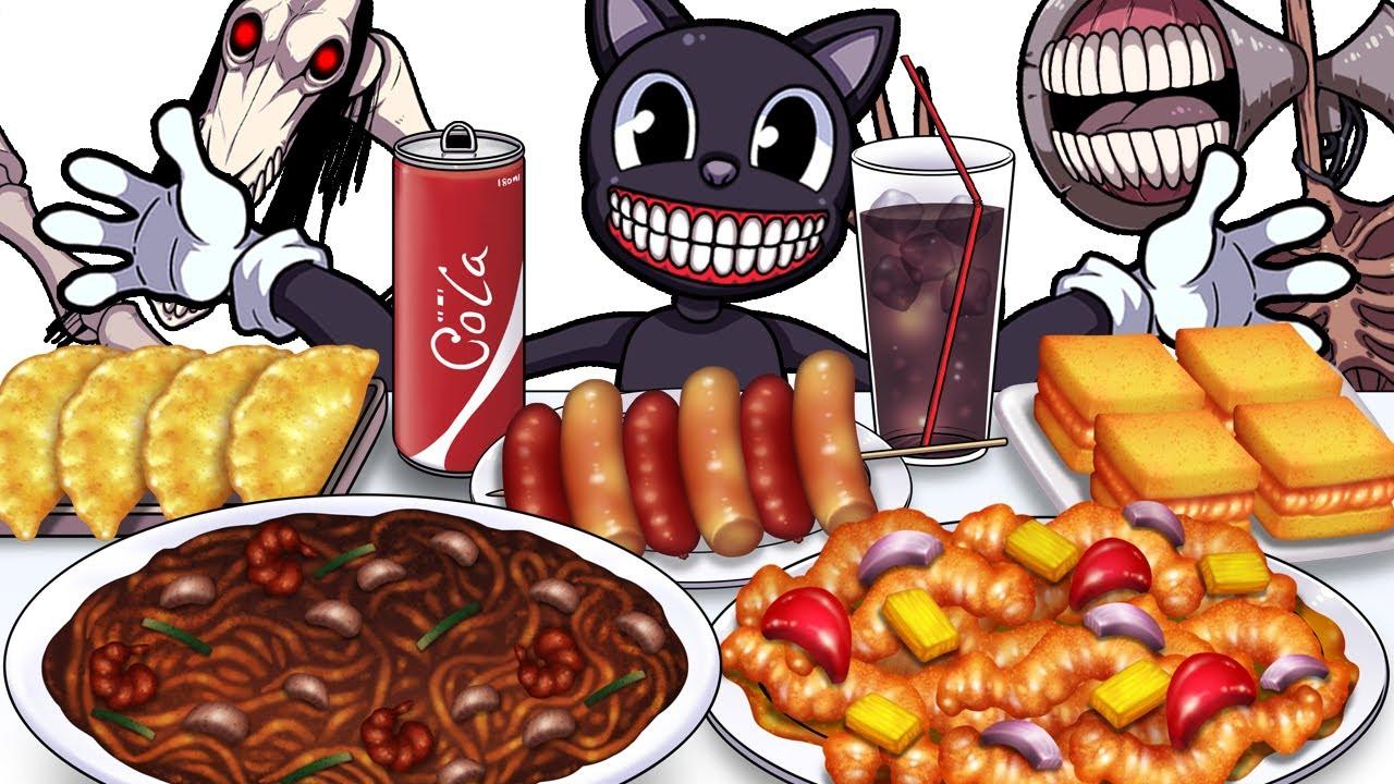 Mukbang Animation jjajangmyeon Set eating Cartoon cat