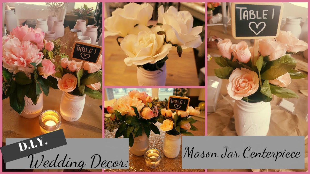 DIY Wedding/Bridal Shower/Baby Shower Centerpiece   Distressed Chalked Mason  Jars   YouTube
