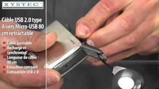 PX2550-CÂBLE USB 2.0 TYPE A VERS MICRO-USB RÉTRACTABLE - 80 CM