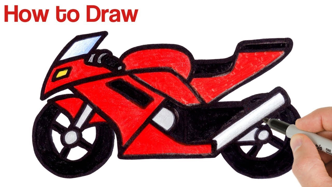 How To Draw A Motorcycle Drawing And Coloring For Beginners Youtube