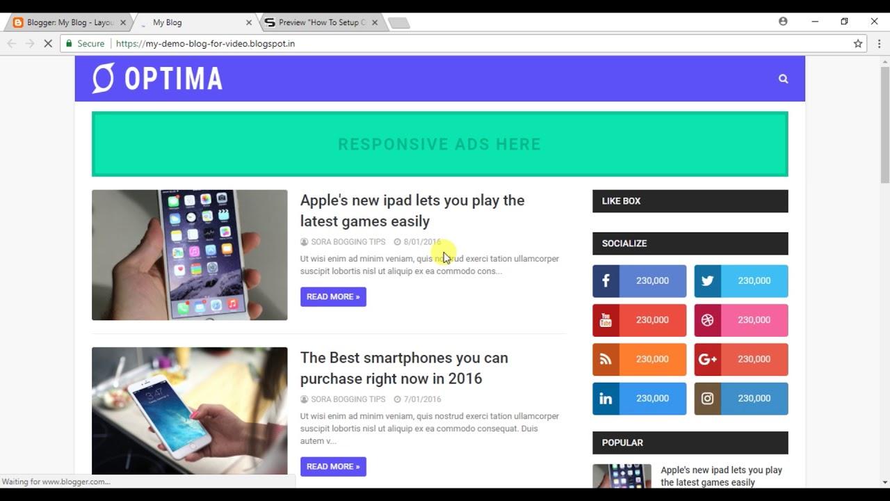How To Setup Optima Blogger Template Templatesyard Youtube