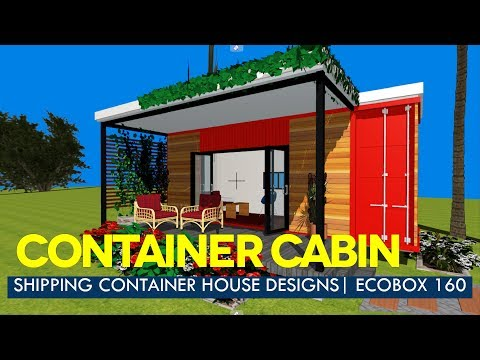 Modern Container House Designs with Floor Plans | ECOBOX 160 Studio Cabin