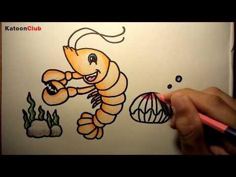 กุ้ง สอนวาดรูปการ์ตูนน่ารักง่ายๆ ระบายสี How to Draw Crab Cartoon Easy Step by Step