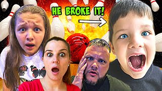 CALEB vs BOWLING BALL! Fun and Crazy Family Fun at ARCADE MAIN EVENT!