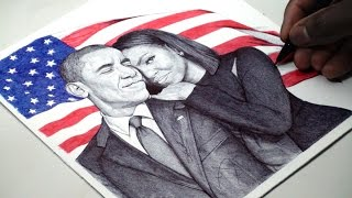 Barack and Michelle Obama Pen Drawing - DeMoose Art